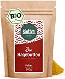 BIO Hagebuttenpulver - 500g - Rosa Canina - 100% Biopulver aus ganzen Hagebutten gemahlen, Großpackung mit Preisvorteil - Abgefüllt und kontrolliert in Deutschland