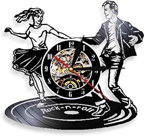 ZZLLL Dancer Vinilo Reloj de Pared Rock Music Dance Vintage Clock Club Reloj de Pared contemporáneo decoración del hogar Colgante de Pared Art Deco luz Nocturna 12 Pulgadas