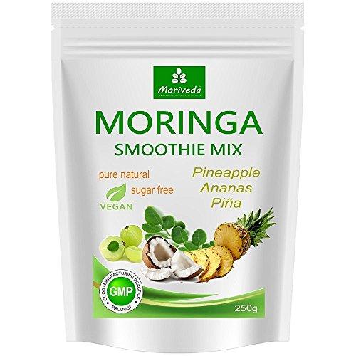Moringa Smoothie Pulver, Energiebooster, Vitaminshake, Proteinshake, Mahlzeitenersatz - versch. Geschmacksrichtungen, 100% natürlich und vegan, ohne Zuckerzusatz* (250 g Ananas Geschmack)