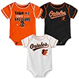 MLB Newborn Infants Ball Game 3 Piece Bodysuit Creeper Set (0/3 Months, Baltimore Orioles)