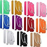 22 Pieces Metal Luggage Tags with Name ID Cards Aluminum Suitcase Labels Card Holders with Stainless Steel Loops Colorful Travel Bag Tags