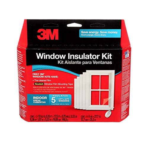 3M Indoor Window Insulator Kit, Window Insulation Film for Heat and Cold, 5-3'x5' Windows