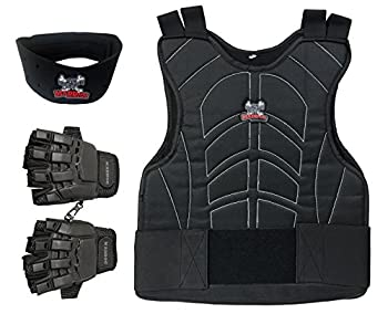 Maddog Padded Chest Protector Tactical Half Glove & Neck Protector Combo Package - Black - Small/Medium