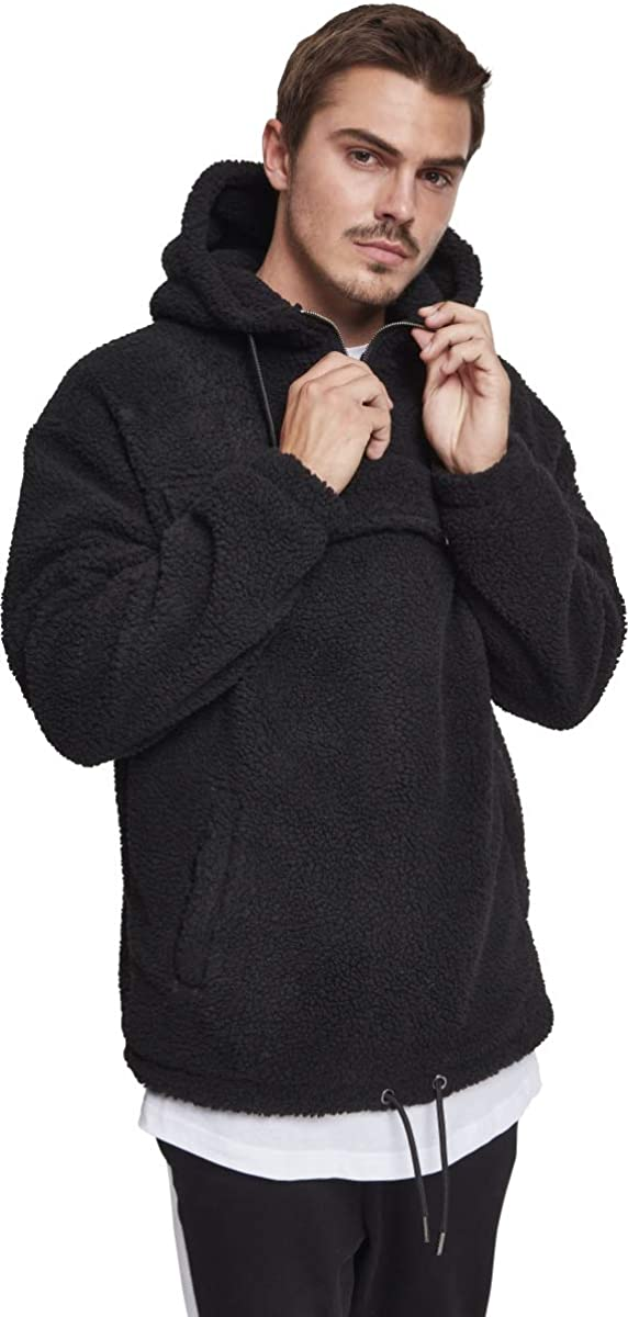 Urban Classics Men Hoodie Sherpa Pull Over Hoody Noir (Black 00007)