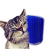 Ducomi Grattino Spazzola Autopulente Gatto con Supporto per Porte, Tavolo, Pareti e Angoli in Morbido Silicone. Pettine Pulizia e Igiene del Pelo di Felini e Animali Domestici (Blue, 1 Piece)