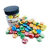 ROOFOO Glass Gems Flat Marble Beads Art Mosaics Multicolor Mixed Colors 0.68 LB for Vase Fillers,Crafts,Home Table Scatter,Fountain,Decoration