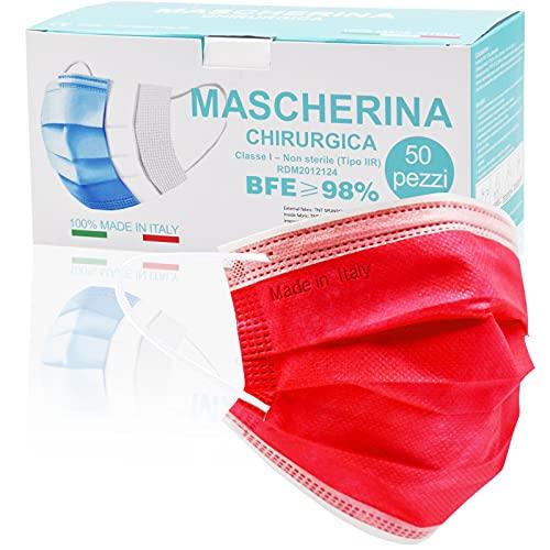 Medizinische Masken bunt,50 Stück,3-lagig Einwegmasken,CE Zertifiziert typ IIR mit BFE ≥ 98% op Masken für Erwachsene,Effektiver Mund und Nasenschutz,Atmungsaktive Bedeckung(Feuerrot)