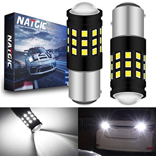 NATGIC 1157 BAY15D 7528 1196 1016 1034 Ampoule LED Blanc Xenon 2700LM 6500K 3030 27SMD avec Objectif Projecteur pour feu Stop Feu de recul Feu de Jour Feux de Jour 12V-24V (Paquet de 2)