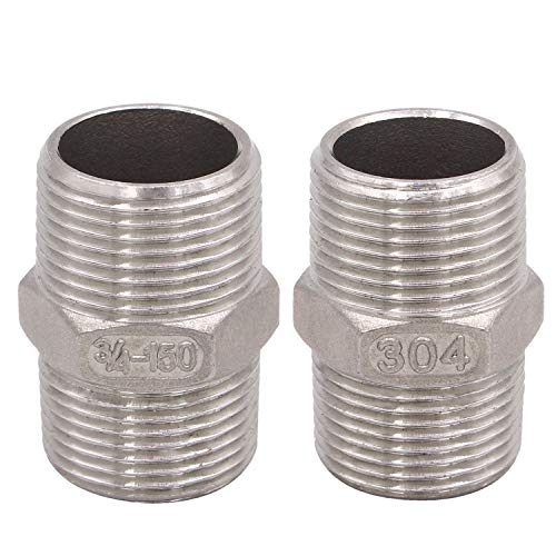 Hex Nipple 3/4 Inch Male NPT - DERPIPE Stainless Steel 304 Threaded Pipe Fitting for Brew Kit, Home Piping Application(Pack of 2)