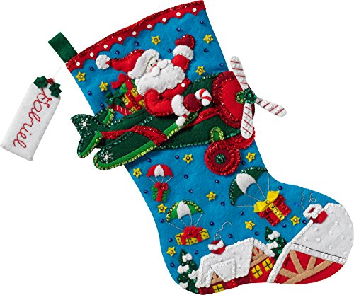 Bucilla 86863 Airplane Santa Stocking Kit ,Size-7