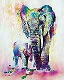 WONZOM Pintura por Números para Adultos - DIY Conjunto Completo de Pinturas Surtidas Pintura al óleo Kit y Accesorios para cepillos - Elefantes Coloridos Padre-Hijo 16 * 20 Pulgadas Sin Marco