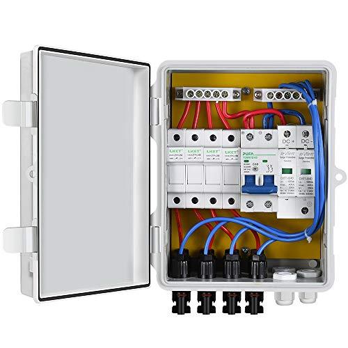 ECO-WORTHY 4-saitige PV-Kombinationsbox, 10 A, Breaker mit Kunststoff-ABS-Abdeckung, elektrischer Box, wasserdicht, sicherer Schutz, Photovaltaik-Generator für Solarmodul-System-Kit