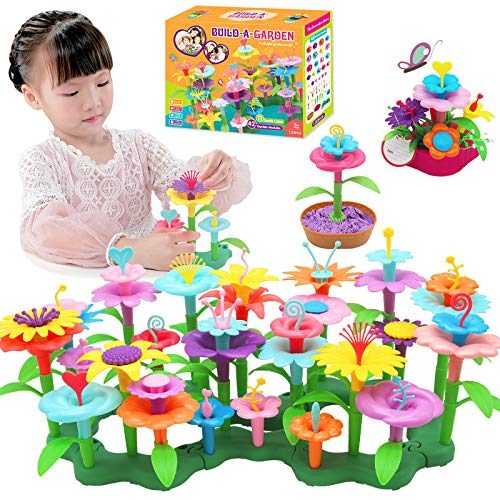 133 Pcs Kids Flower Garden Toys for Children Building Set Outdoor...