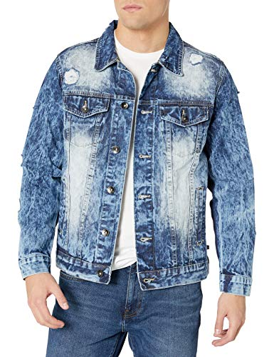 Southpole Men's Premium Fashion Denim Jacket, Medium Sand Blue Ripped, Large