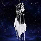 Dremisland Blanc Attrape-rêves Main Lune Conception avec Plumes Dream Catcher Tenture Murale Décoration de La Maison Ornement Festival Artisanat Cadeau