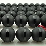 6mm 8mm 10mm 12mm 14mm 16mm Naturstein Perlen schwarz rund matt Onyx Black Line Agata...