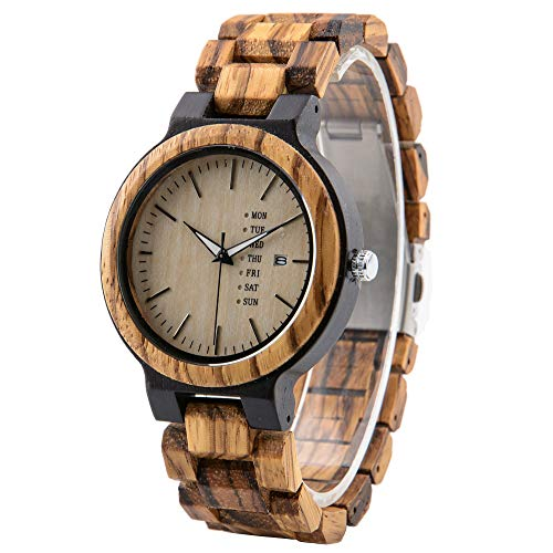 Orologio da polso in legno da uomo, stile casual, in legno zebra&ebano con visualizzazione della settimana e della data, per anniversario