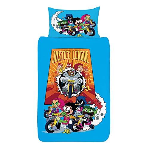 Teen Titans Go Single Bettbezug – Offizielles Wende-Bettwäsche-Set – Rotkehlchen, Beast Boy, Starfire, Rabe & Cyborg – Polycotton