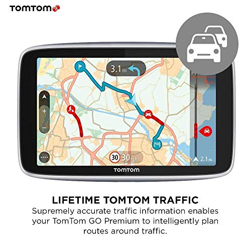 TomTom Car Sat Nav GO Premium 6 Inch with Updates via Wi-Fi, Traffic and Speedcam Warnings via SIM Card, World Maps, Last Mile Navigation and IFTTT