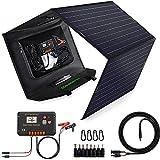 ECO-WORTHY Panneau Solaire Pliable 120W avec Contrôleur de Charge Portable, Sortie CC pour Générateur à Charger PC/batterie/téléphone/camping-car