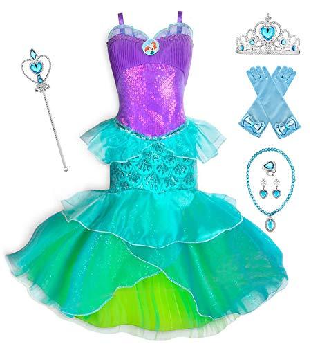 YOSICIL Disfraz Infantil de Cola de Sirena Vestido de Sirena de Cola Hombros Descubiertos Princesa Ariel Cosplay Vestido de Fiesta Carnaval Cumpleaos Halloween con Accesorios