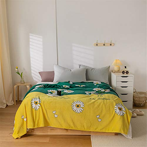 Fansu Flannel Fleece Daisy Print Blankets Throws, Super Soft Touch Warm Fluffy Microfiber Bed Sofa Home Blanket, Large Comfortable Pile Blanket for Sleep and Camp (180x200cm,Yellow-Green)