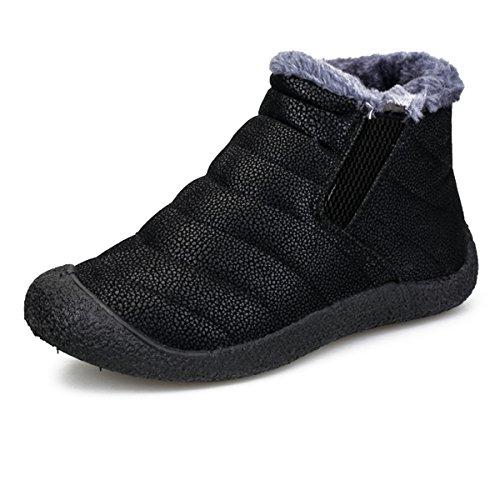Mujer Botas de Nieve Zapatos, Gracosy Impermeables Calientes Botines Forradas Cortas Tobillo Boots Planas Invierno Zapatos Cortas Fur Aire Libre Boots Botines, Negro (Negro), 39 EU