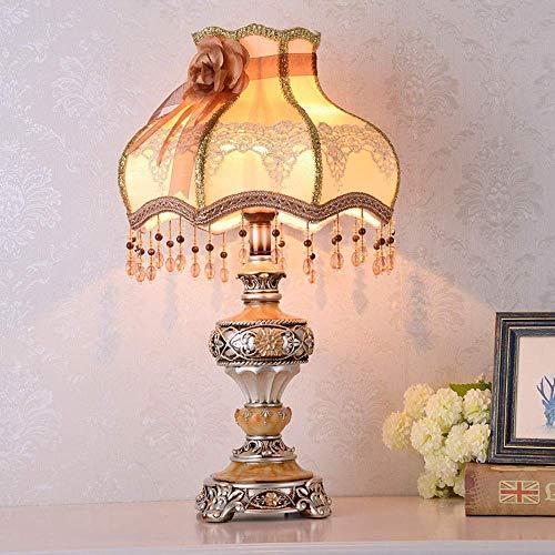 Diseño Personalizado Moderna bordado patrón simple Brown translúcido pantalla de tela de plata con flores de resina de material Tabla Lámparas de encender la lámpara Lámparas Iluminación Lámpara de es