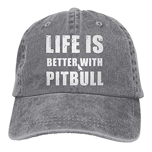 ulxjll Gorra de Camionero Unisex La Vida es Mejor con Pitbull Gorra de béisbol Vintage Sombreros de...