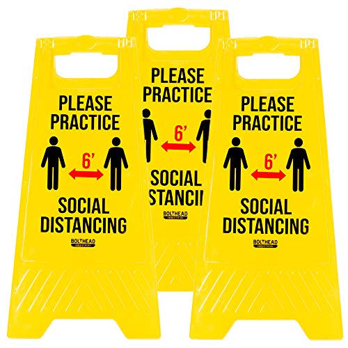 Please Practice Social Distancing Floor Signs, 3-Pack – Keep 6 Feet Apart Double-Sided, Foldout Signage – Crowd Control Safety Message for Businesses, Stores & More
