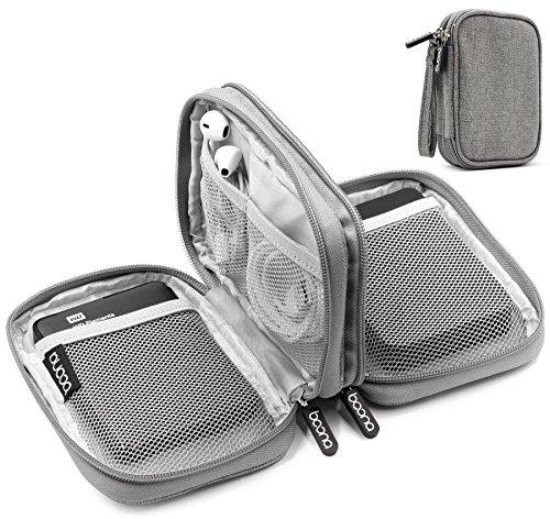 BOONA doppio strato Hard Drive 2,5 pollici, custodia antiurto (L, grigio, tela)
