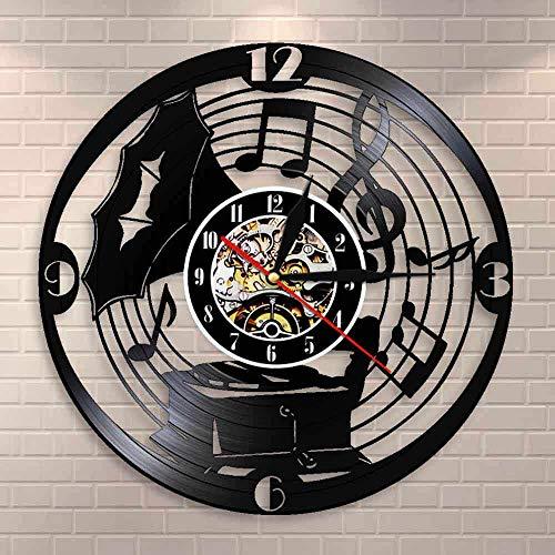 wtnhz Reloj de Pared con Disco de Vinilo LED luz LED Luminosa de 16 Colores Reloj De Pared De Vinilo Moderno Reloj de Pared con Disco de Vinilo Retro