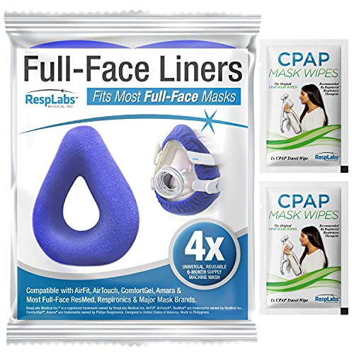 RespLabs CPAP Mask Liner für Vollmasken - Universal 4 Pack - Feuchtigkeitstransport, Druckreduzierung, Komfortsteigerung. Superweiche, Waschbare Baumwollbezüge.