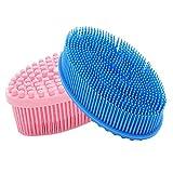 Maxin - Juego de 2 cepillos de ducha para exfoliación de piel, esponja de baño para cuerpo y cara (rosa + azul)