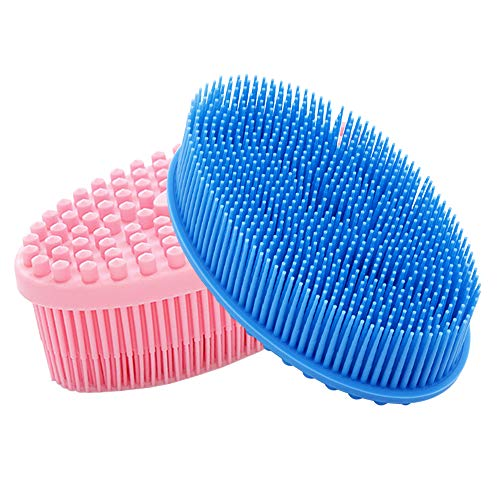 Silicone Body Scrubber,maxin 2 Packs Shower Bath Body Brush for Skin Exfoliation Loofah Bath Brush,Lathers Well For Body Scrub(Pink+Blue)