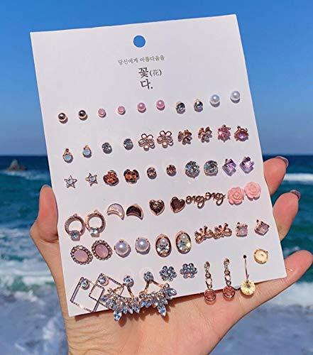 N/A Conjunto de Pendientes de joyería de Moda Pendientes de Plata geométricos con Perlas para Mujer 30 Pares/Conjunto de Pendientes ZJ2806
