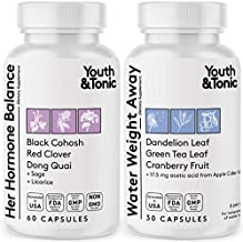 Women Hormone Balance & Water Weight Pills | PMS Menopause Relief & Related Water Loss | All Stages Female Hormonal Support & Natural Diuretics for Swelling | Black Cohosh Red Clover Dong Quai Complex