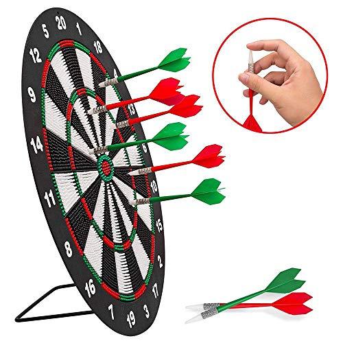 HWHSZ Dart-Board-Set, 18-Zoll-Sicherheits-Dart-Set Mit 6 Darts, Doppelseitigem Dart-Ziel FüR Kinder, Erwachsene, BüRo- Und Home-Entertainment-Spiel
