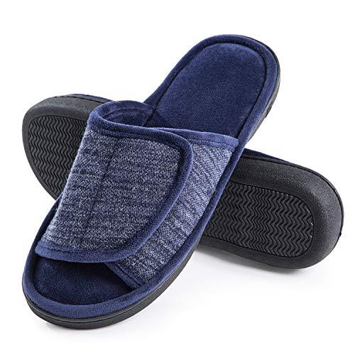 DL Adjustable Mens Slippers Memory Foam, Open Toe House Slippers for Men Indoor Outdoor, Breathable Slide Bedroom Slippers for Men Anti-Slip Rubber Sole Black Gray Navy Brown