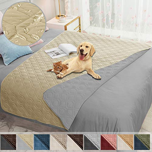 Ameritex Waterproof Dog Bed Cover Pet Blanket for Furniture Bed Couch Sofa Reversible (52x82 Inches, Beige+Lightgrey)