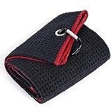 Mile High Life Tri-fold Golf Towel | Premium Microfiber Fabric | Waffle Pattern | Heavy Duty Carabiner Clip (Black/Red)