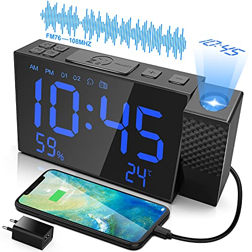 VCKHRRY Proyección Despertador Radio FM Despertador Dual Repetición Temperatura Humedad Pantalla LED Atenuador Puerto USB Fácil de Usar