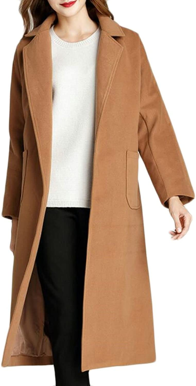 GAGA Women's Notched Lapel Fashion Long Sleeve Solid color Woolen Long Trench Coat