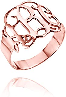 925 Sterling Silver Personalized Monogram Ring Custom Made with 3 Initials