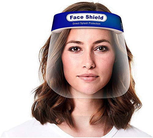 Face Shield 100-Pack, Reusable Transparent Anti-Fog Visor Full Face Safety Cover with Comfort Foam, Adjustable Band to Fit All Sizes, 100-Pack