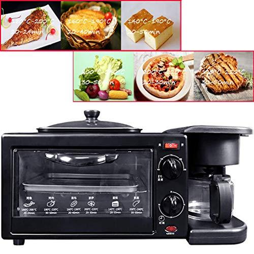 3 in 1 Smart Ofen Mit Bratpfanne-Kaffeemaschine, Multifunktions-Strand-Toaster Mit Natürlicher Konvektion, Mikrowelle Mit Grill, Backform, Toast, Pizza,Schwarz