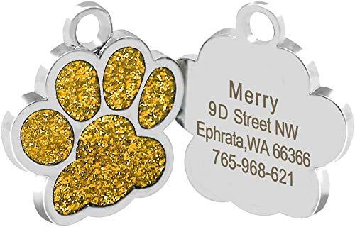 Beirui ID-Tags für Hunde und Katzen, Pfotenabdruckmotiv, personalisierbar mit Laser-Gravur, 24 mm, Edelstahl, Gold, S (0,9