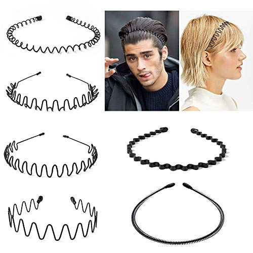 Eyscoco Metall Haarband,6 Stück Schwarz Welle Metall Stirnband,Damen Herren Rutschfestes Elastisches Stirnband Haarbänder Haarreifen Haarschmuck Stirnband Zubehör für Outdoor Sports Yoga
