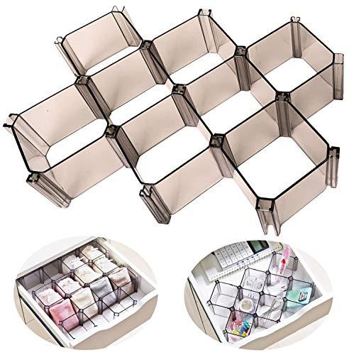Divisor organizador de cajones organizador de almacenamiento de ropa interior de escritorio para el hogar la oficina el baño la sala de estudio, paquete de 6 piezas (Gris)