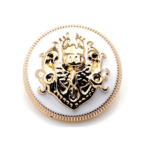 Lot de 10 boutons métalliques à tige, doré et noir, avec motif double lion, pour couture et bricolage - Plusieurs tailles disponibles, Gold+White, 12 mm